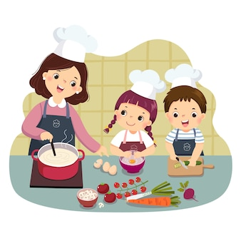 Cartoon of mother and children cooking at kitchen counter. kids doing housework chores at home concept.