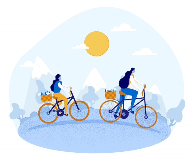 Cartoon mother and daughter riding bikes on nature.