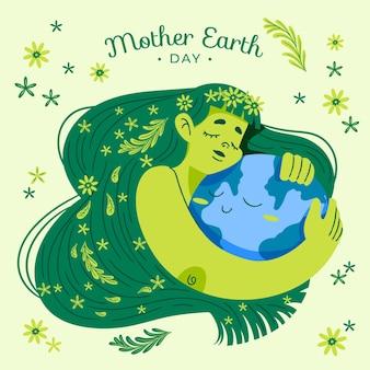 Cartoon mother earth day illustration