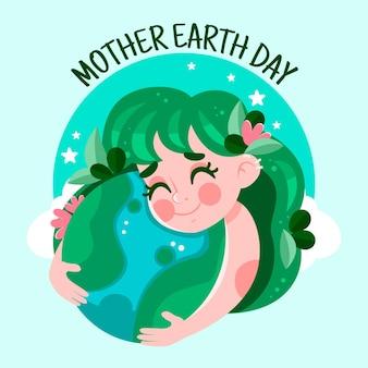 漫画の母なる地球デーのイラスト