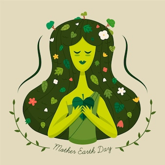 Cartoon mother earth day illustration