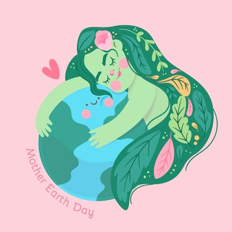 Cartoon mother earth day illustration Free Vector
