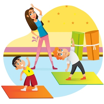 Cartoon mother exercise with children family yoga