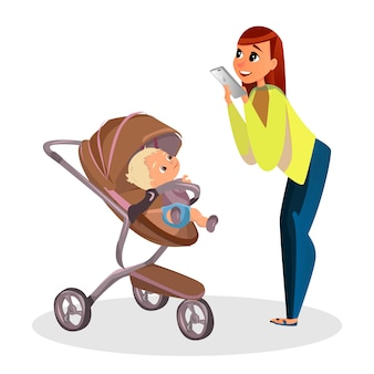 Cartoon mother make picture of son in stroller