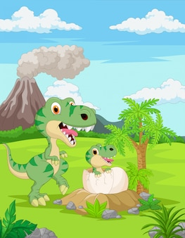 Cartoon mother tyrannosaurus with baby hatching