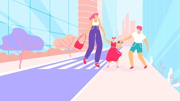 Cartoon mother with children walk at crosswalk