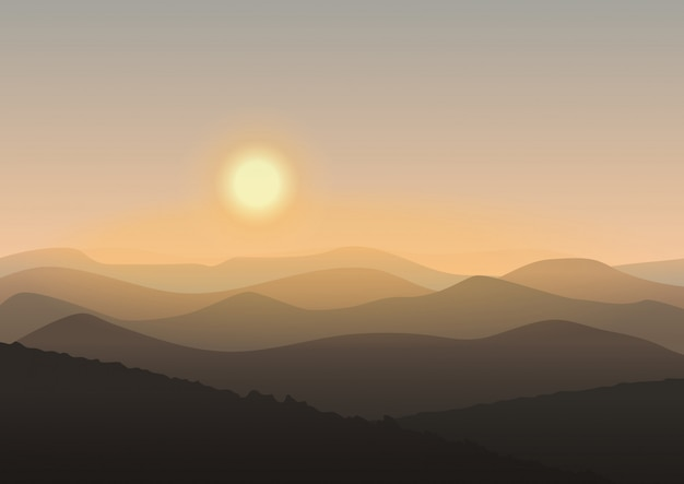 Cartoon mountain landscape in sunrise
