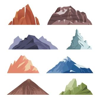 漫画の山。極端な登山遠征のための屋外の岩の風景。