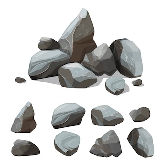 Cartoon mountain stones. rocky big wall from gravels and boulders  creation kit with various colored parts of stones