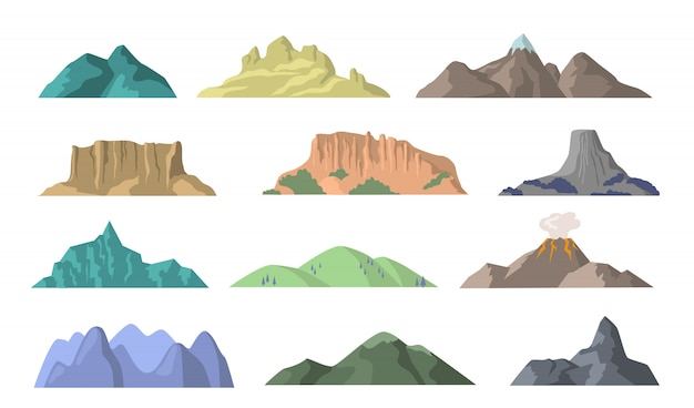 Cartoon mountains flat elements