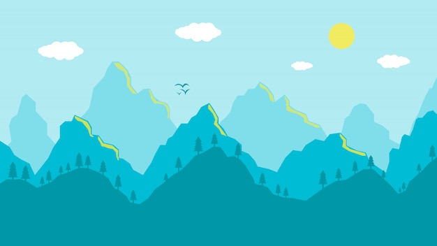 Cartoon mountains landscape morning