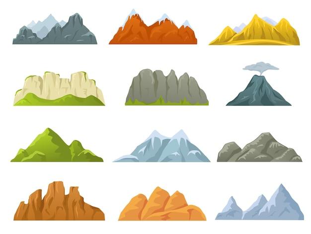 漫画の山の尾根、岩の崖、雪に覆われた山頂と丘。石の崖、火山、丘、山の自然ゲームデザイン要素ベクトルセット