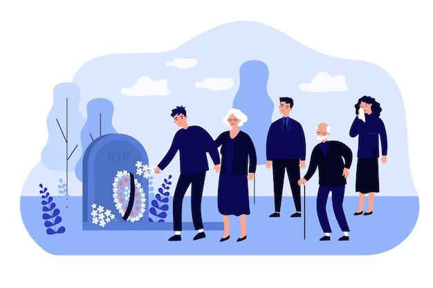 墓地のフラットイラストで人々を悼む漫画