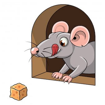 Cartoon of a mouse and cheese in hole