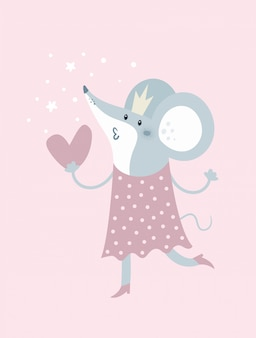 Cartoon mouse in crown and with heart