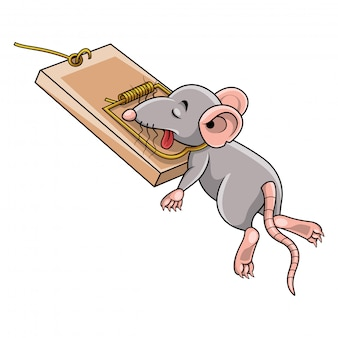 Cartoon mouse dead in a mousetrap