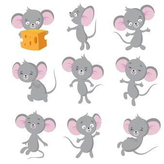 Cartoon mouse. gray mice in different poses. cute wild rat animal  characters