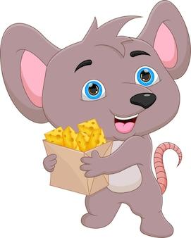 종이 봉지에 치즈를 들고 있는 만화 쥐