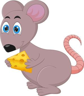 白い背景の上のチーズを保持している漫画のマウス