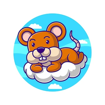 Cartoon mouse is on the cloud