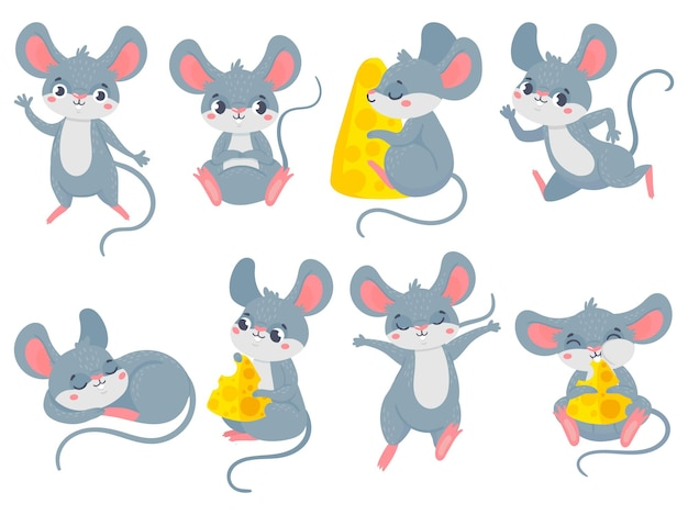 Cartoon mouse. little cute mouses, funny small rodent pet and mice with cheese set.
