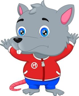 Мультфильм мышь позирует и машет