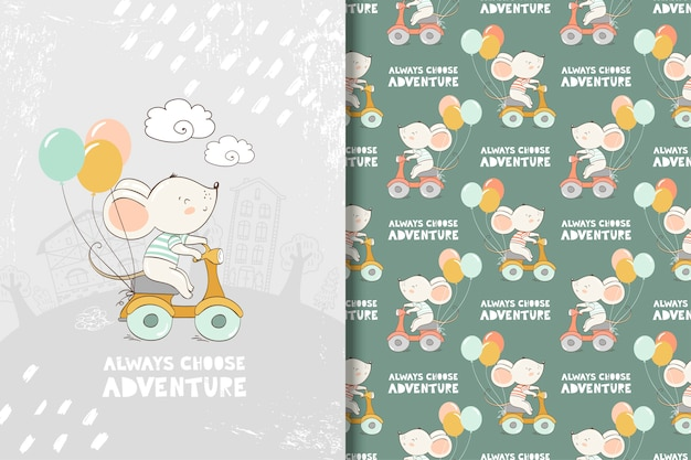 Cartoon mouse ride a bike illustration in hand drawn style. card and seamless pattern