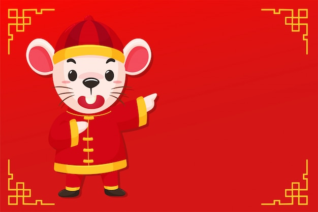 Cartoon mouse wearing a chinese dress on the red of chinese new year