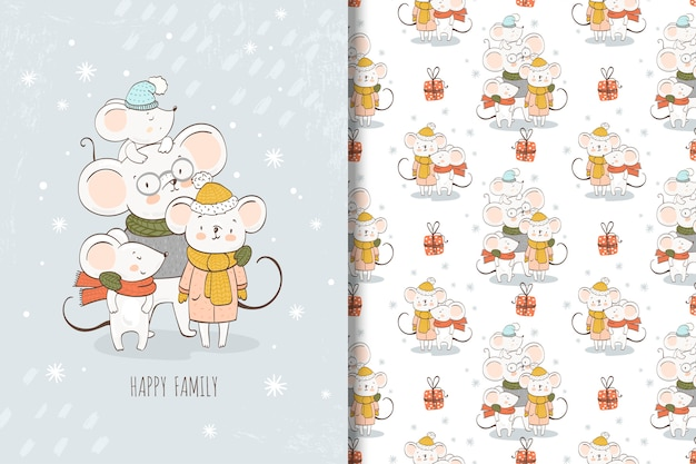 Cartoon mouses family illustration and seamless pattern