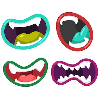 Cartoon mouth of aliens and monsters vector set isolated.