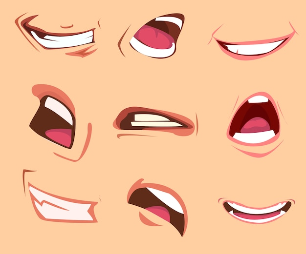 Cartoon mouth expressions set