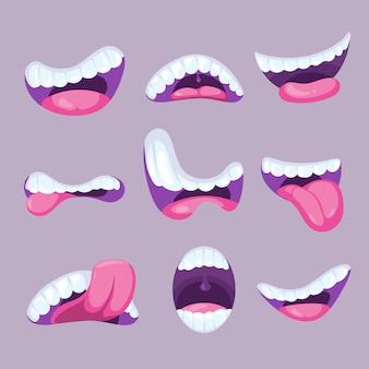 Cartoon mouths expressions set
