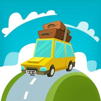 Cartoon mudik travel eid idul fitri car illustration home coming