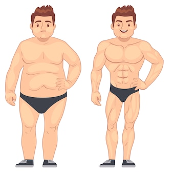 Cartoon muscular and fat man