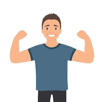 Мультфильм мускулистый мужчина. забавный спортивный парень.