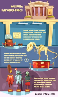 Cartoon museum infographics