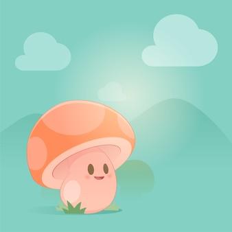 Cartoon mushroom smile