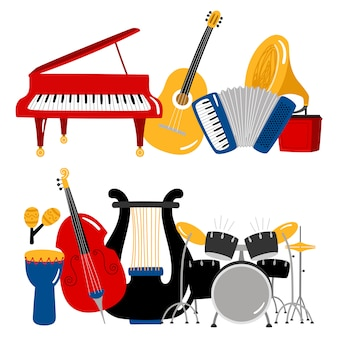 Cartoon music instruments