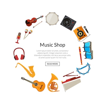 Cartoon musical instruments in circle