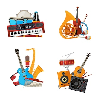 Cartoon musical instruments piles set isolated on white background illustration.