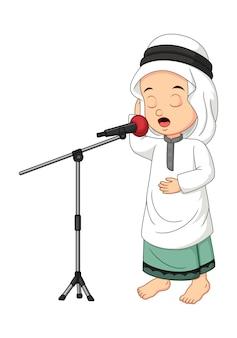 漫画のイスラム教徒のアラブの少年はアザーンを呼び出します