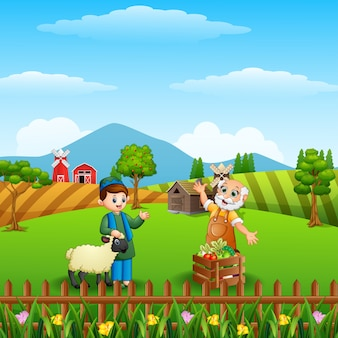 Cartoon muslim boy and his sheep