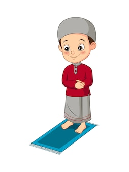 Cartoon muslim boy praying on mat