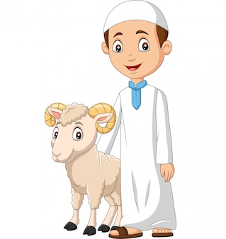 Cartoon muslim boy with a goat