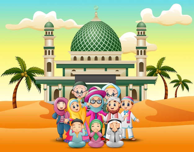Cartoon muslim family in front the mosque