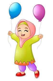 Cartoon muslim girl holding balloon