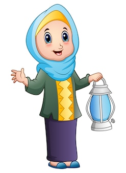 Cartoon muslim girl holding lantern
