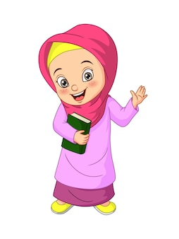 Cartoon muslim girl holding quran book