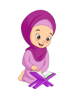 Cartoon muslim girl reading quran