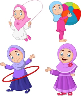 Cartoon muslim girls with different hobbies